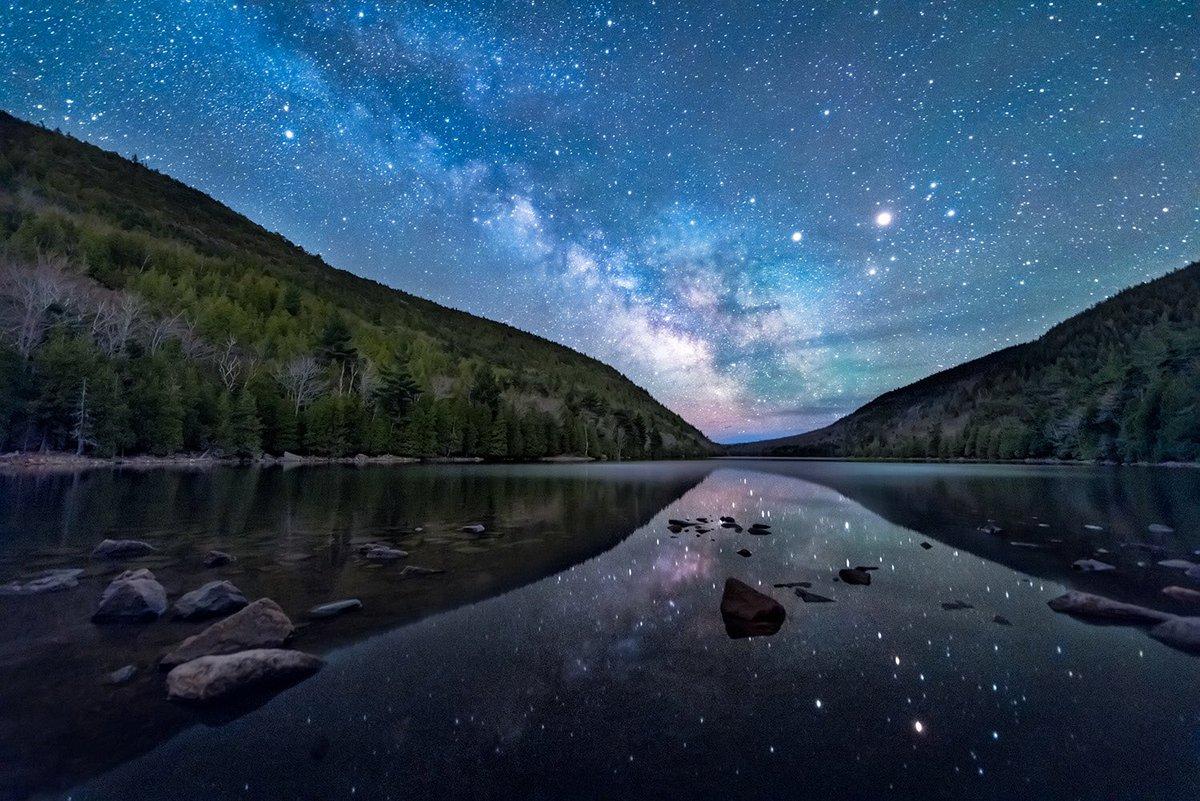 The #MilkyWay sparkles over Bubble Pond @AcadiaNPS by Evan Kokoska #Maine