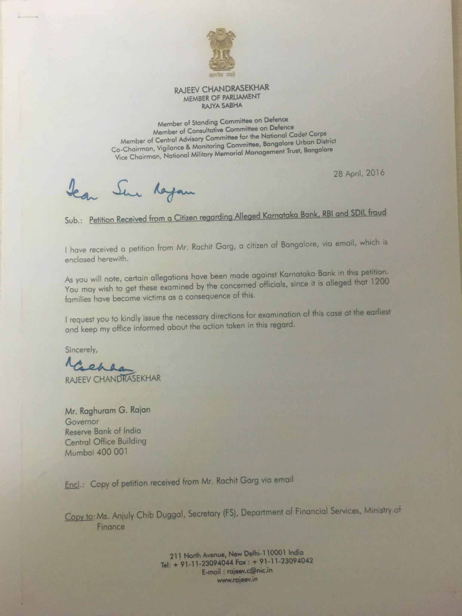 Rajeev Chandrasekhar On Twitter In April I Wrote To Rbi Gov Aftr