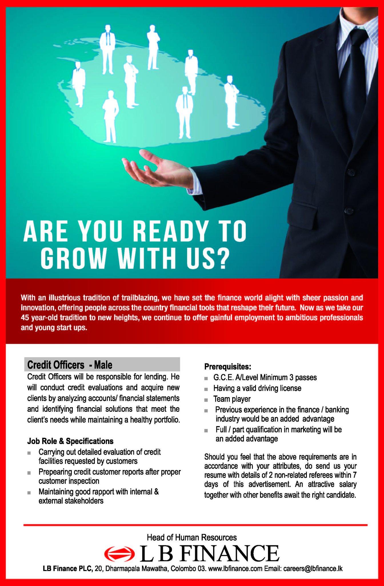 Observerjobs On Twitter L B Finance Plc Credit Officers Male Https T Co B3o1upd2zm Career Jobs Lk Srilanka Lka