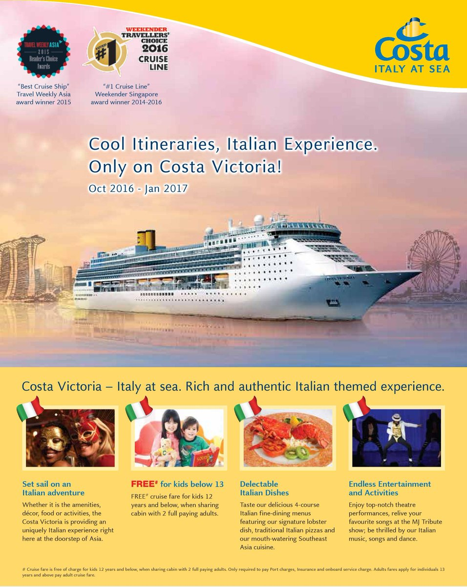 CnE Holidays On Twitter Costa Cruise Promotions In Singapore - Best cruise ship songs