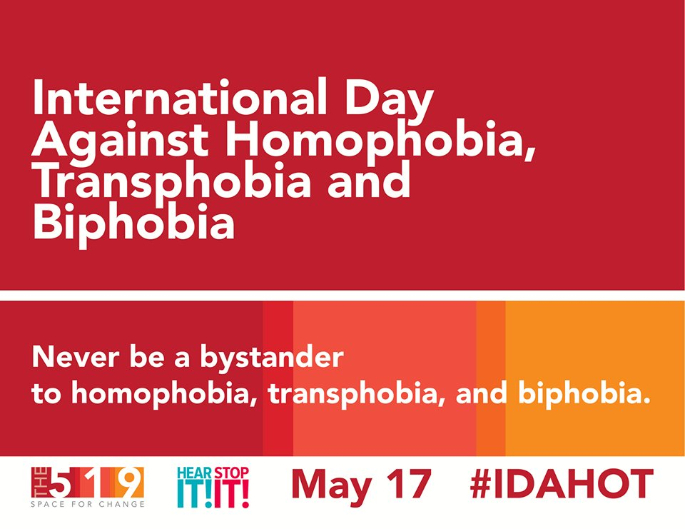Never be a bystander to homophobic, biphobic or transphobic behaviour @hearitstopit #NoBystanders #IDAHOT https://t.co/QAWDrIHfLF