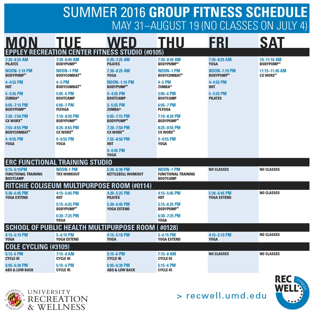 "umd recwell on twitter: ""the summer group fitness schedule starts"
