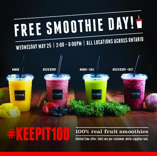 Brace yourselves for FREE SMOOTHIE DAY at all aroma espresso bar locations, Wednesday May 25 from 2-6pm! https://t.co/SlU5wLX3kT