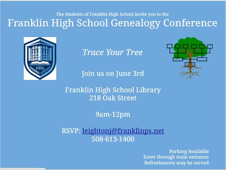 FHS Students to host a Genealogy Conference - June 3
