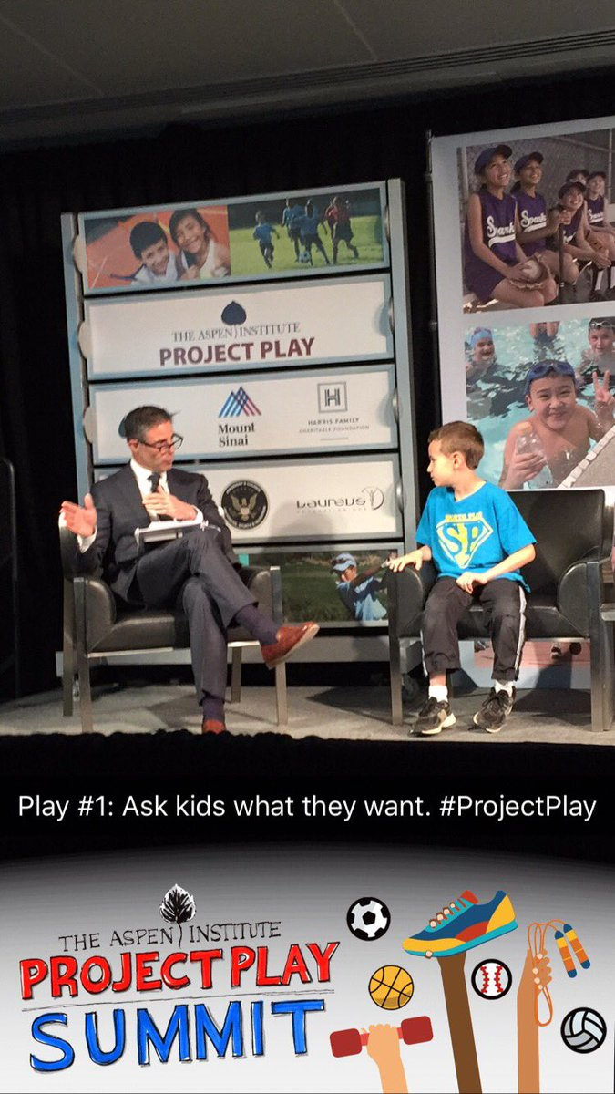 Young athlete on stage shares advice that people should be active everyday even if only 15 min. #ProjectPlay https://t.co/I8xhCjnbNR