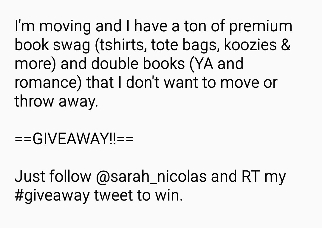 Huge book and swag giveaway! Follow and RT to win. US only. https://t.co/n7G2j4V0Qg