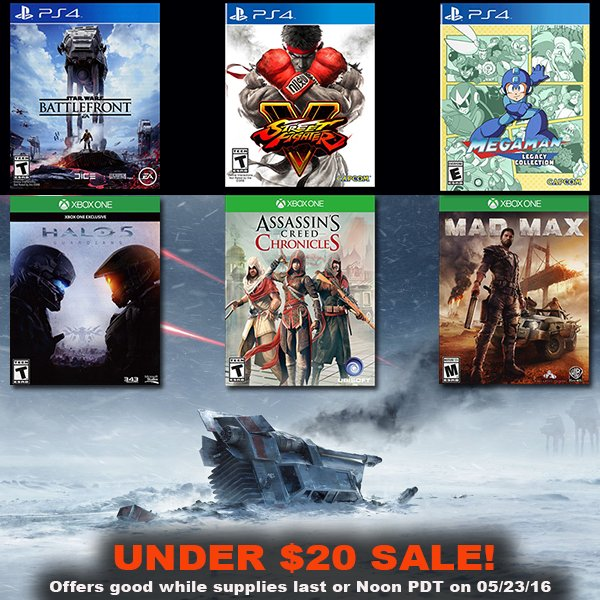 Under $20 Used Game Sale https://t.co/onR9buSlSH Offers good while supplies last or Noon PT on 5/23/16 https://t.co/Nd7VNbfa27