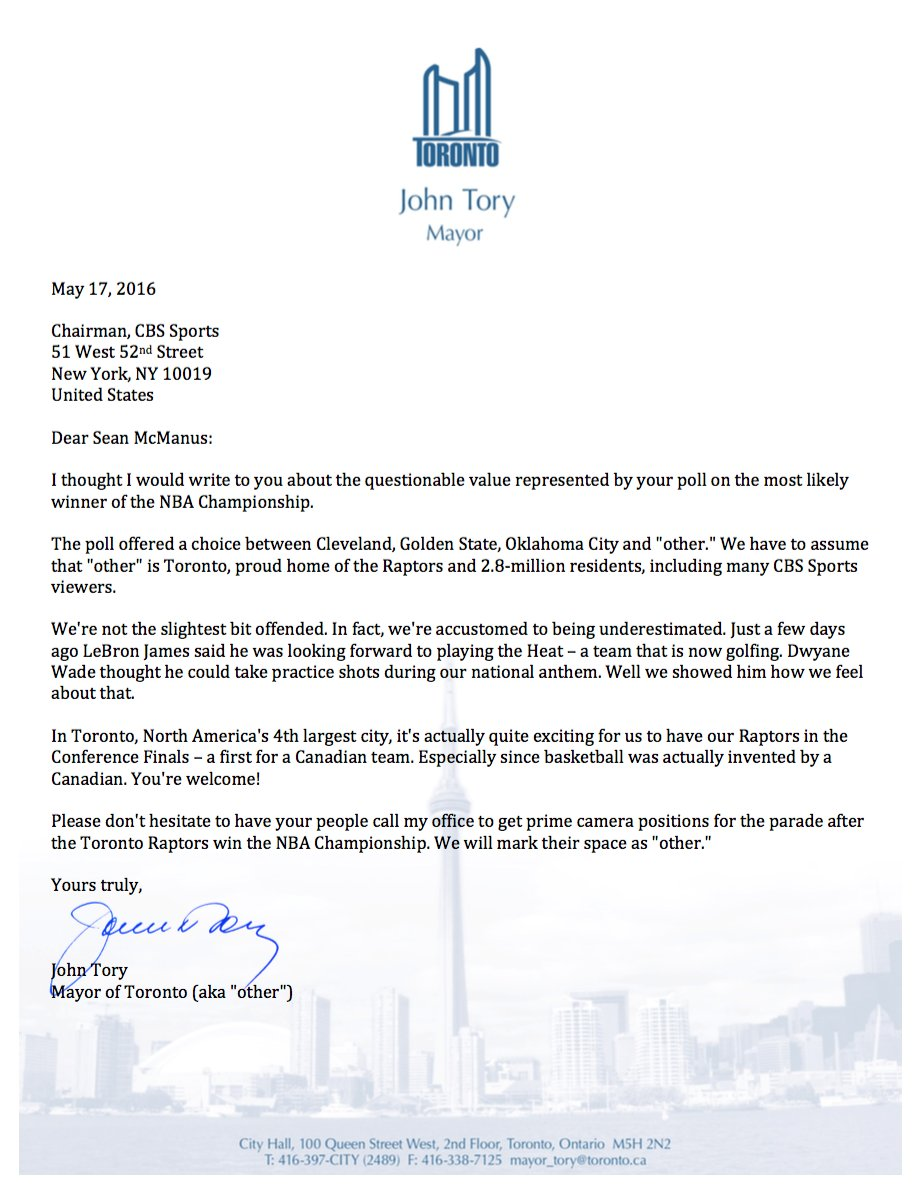 john tory on twitter as mayor of other i felt the need to talk to cbssports about their poll wetheother - Enquiry Muster