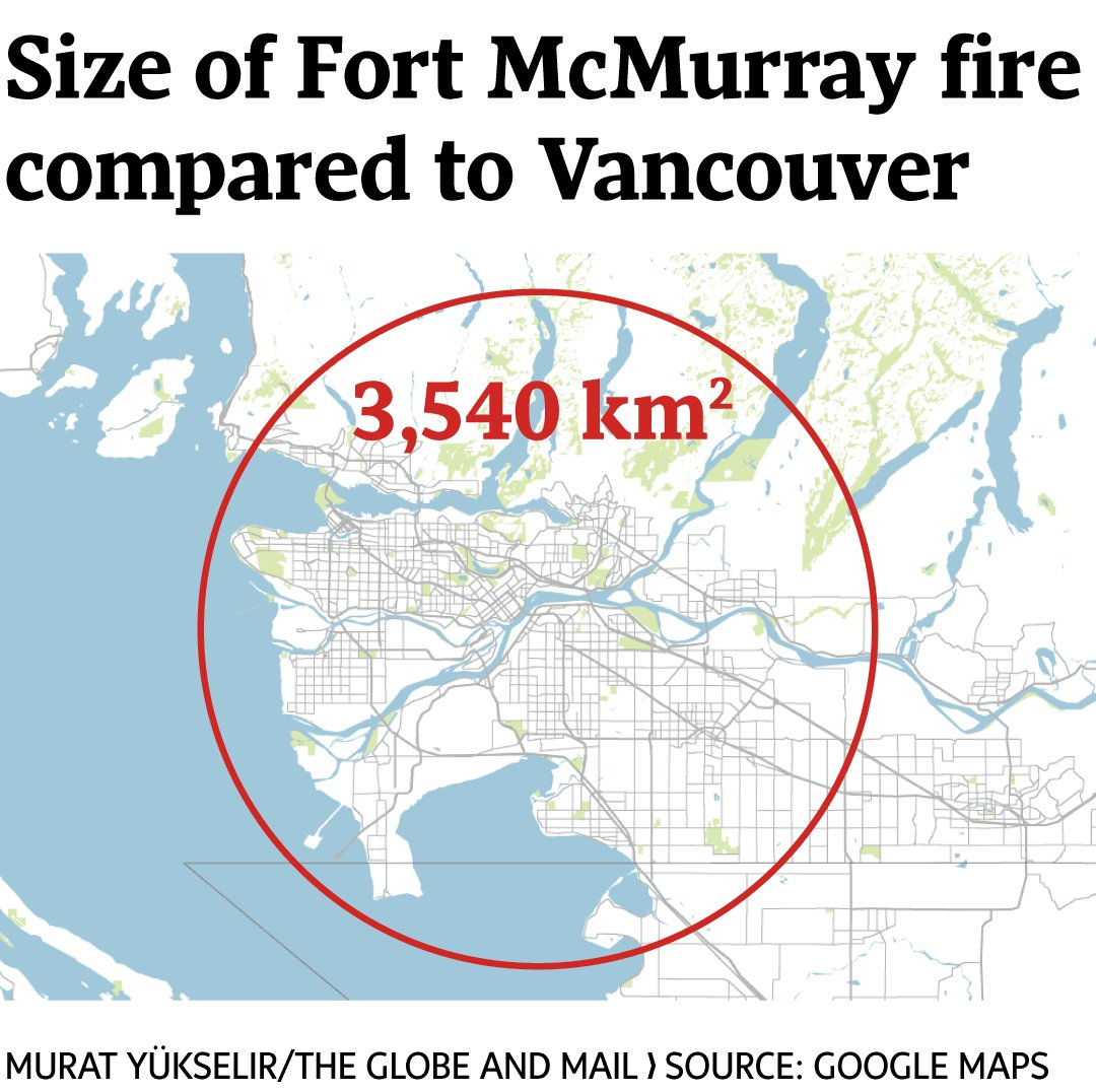How big is the Fort McMurray fire now? Here's the area compared to major Canadian cities.  https://t.co/938NogooIV https://t.co/vZSoO6O2Sx