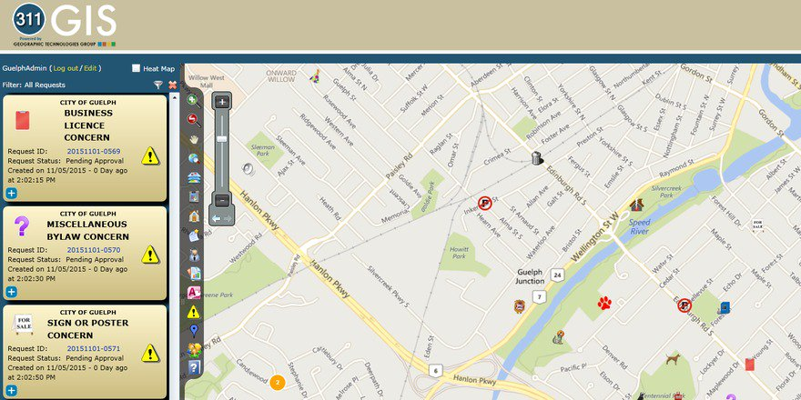 See a problem, report a problem with 311GIS map app introduced in #Guelph2015. https://t.co/Yhw5ESl1xn https://t.co/RHrqI8RkyT