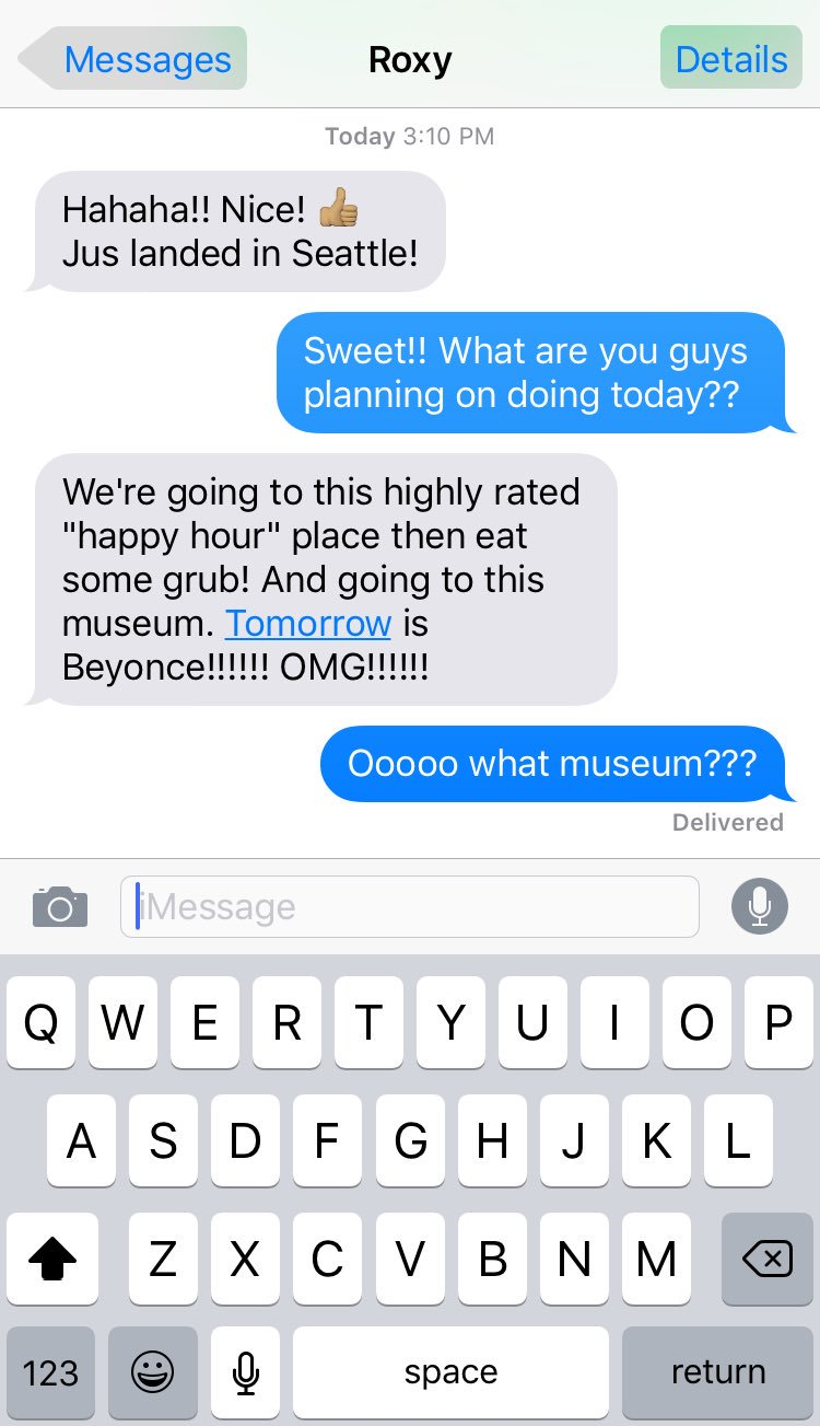 I'm more interested in what museum my sister is going to than her stupid Beyoncé concert ���� https://t.co/bDlY0FA01m