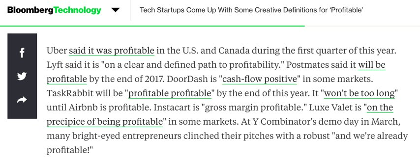 This paragraph from @ellenhuet on the varying definitions of profitability by startups is priceless - and crazy! https://t.co/Fod679EVGM