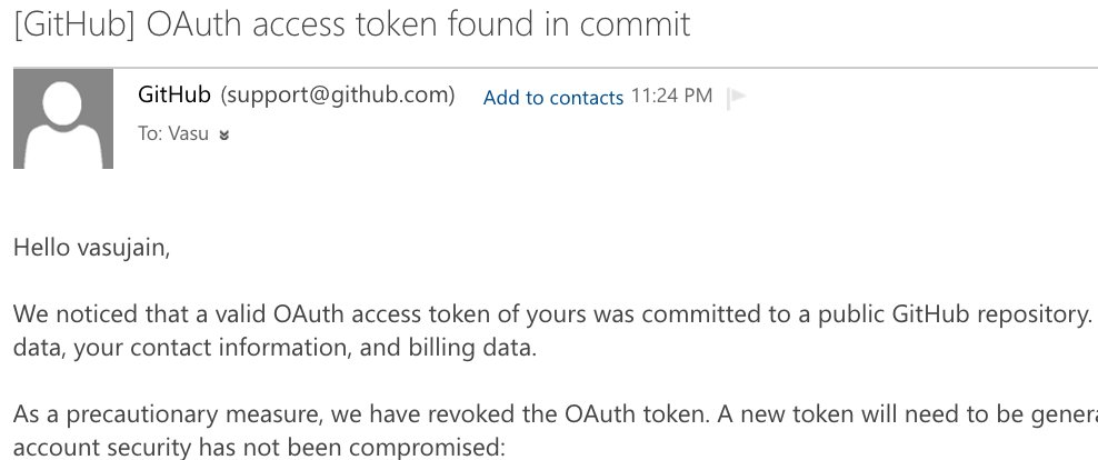 So @github keeps track of @GitHubAPI tokens committed to a public #github repo.. Also they revoked the token..