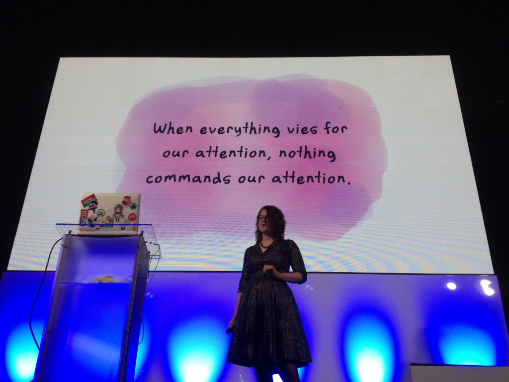 """When everything vies for our attention, nothing commands our attention."" —@rachelnabors #FrontTrends https://t.co/YOgzkepeGZ"