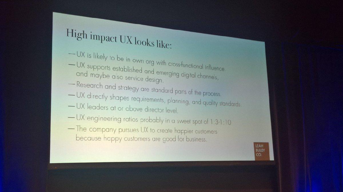 aaaand the UX teams that are High Impact: @leahbuley #uxlondon https://t.co/vmrQ0U0KGh