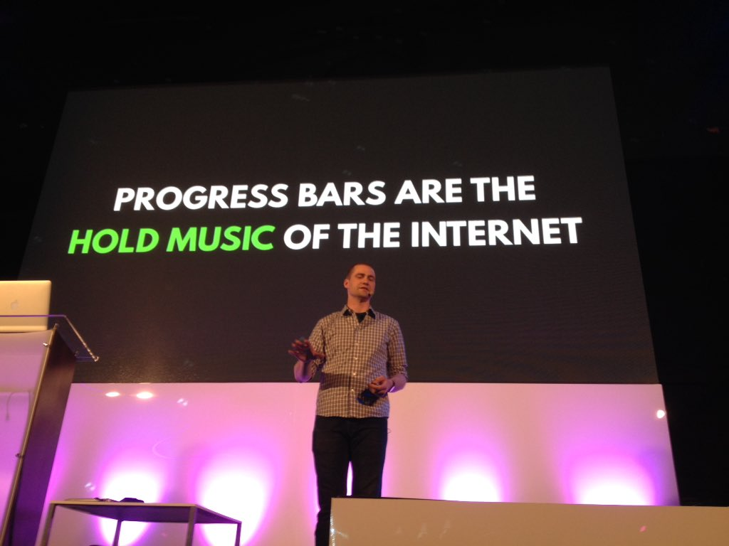 """Progress bars are the hold music of the Internet."" —@tkadlec #FrontTrends https://t.co/xS1h48663W"