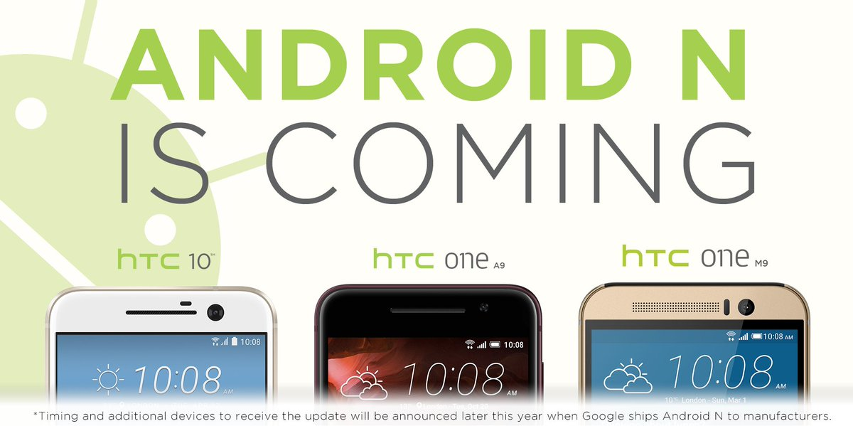 HTC Smartphones getting the Android N Update