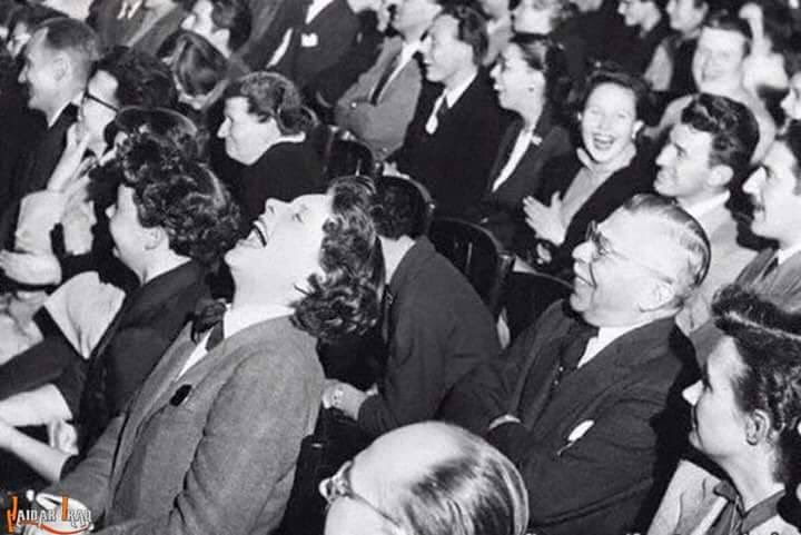 Image result for audience laughing black and white