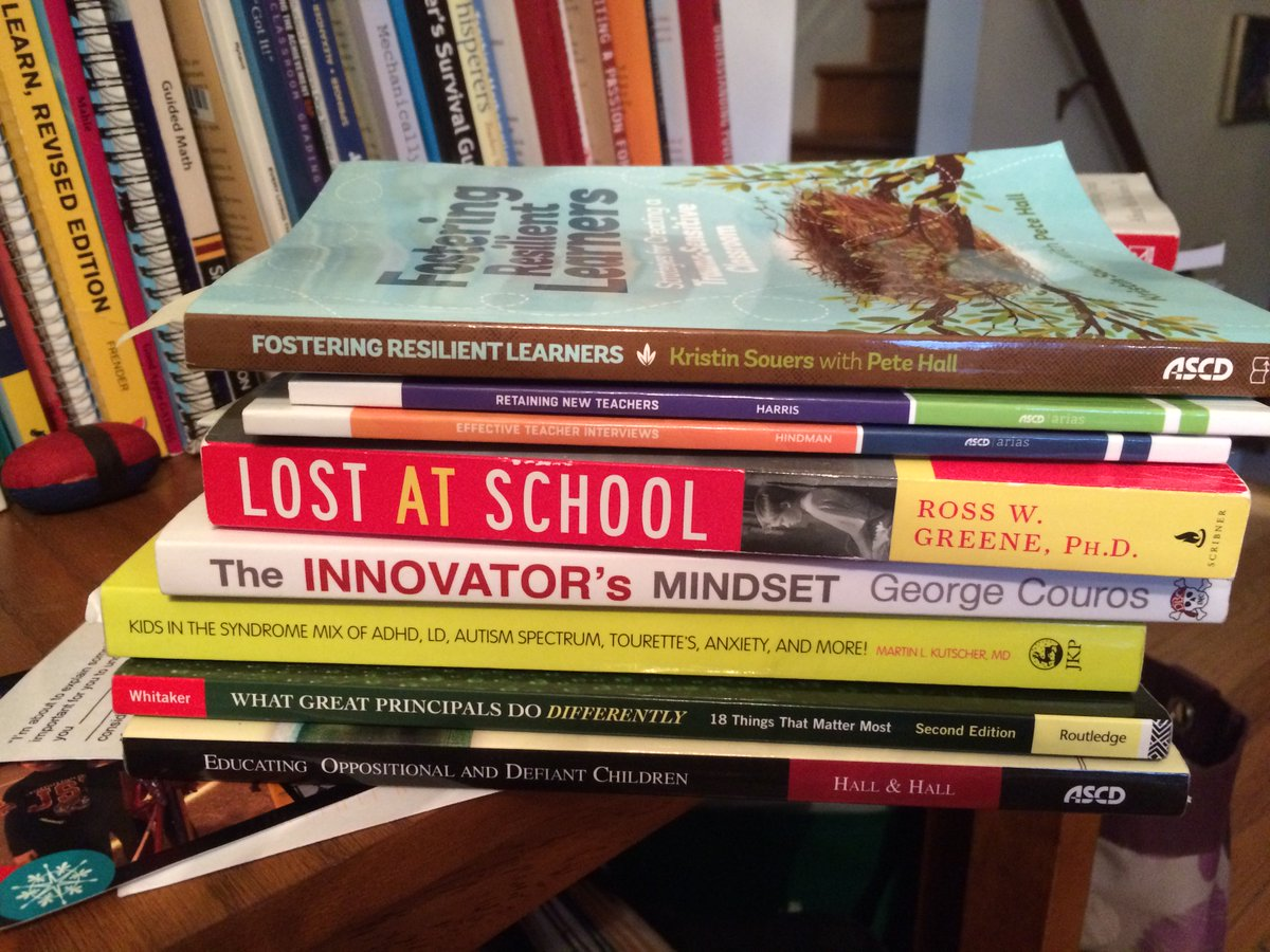 @AliciaEBos @tkiepert  Q4: Me too! I also read a LOT. This is my read this year pile. Some great reads! #miched https://t.co/TVE54TEXok
