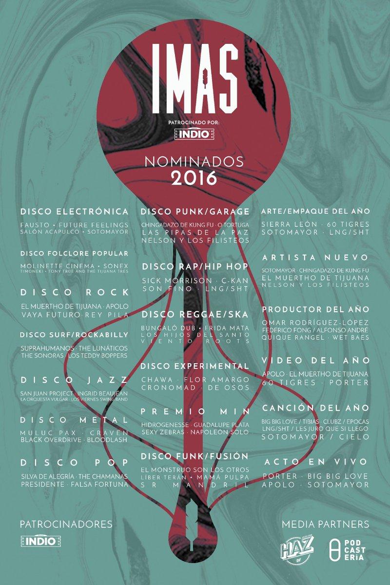 Aquí está el cartel completo con los Nominados #IMAS16. ¡Muchas felicidades a todas las bandas!