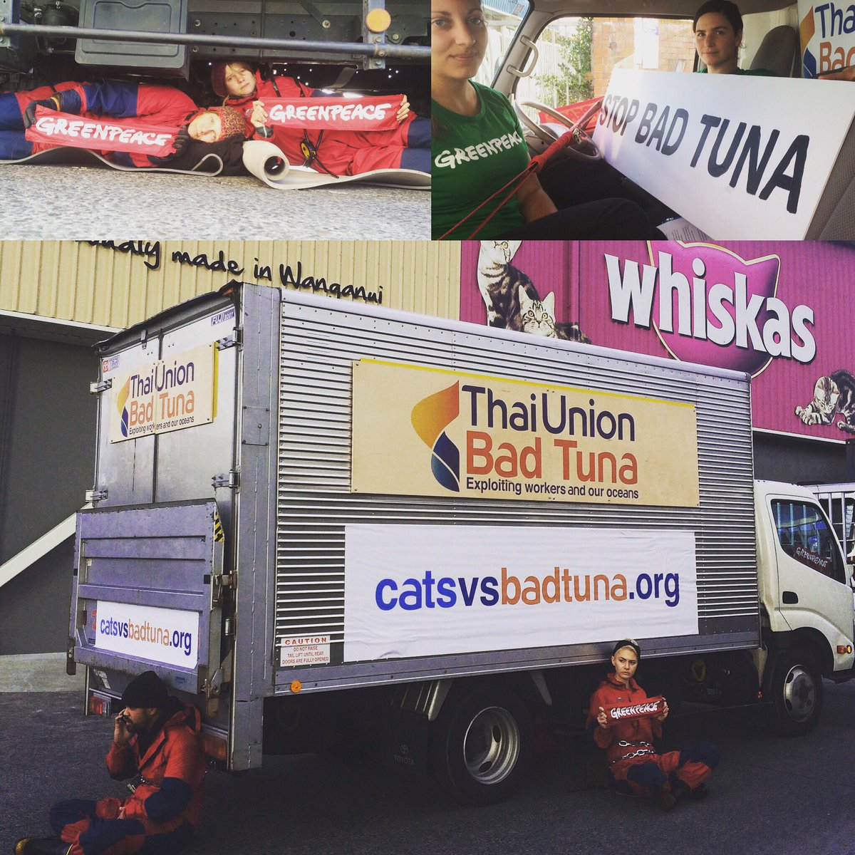 Locked in, under and around our Thai Union #BadTuna truck. People deserve to know where their cat food comes from! https://t.co/HKoDpOjz5Q
