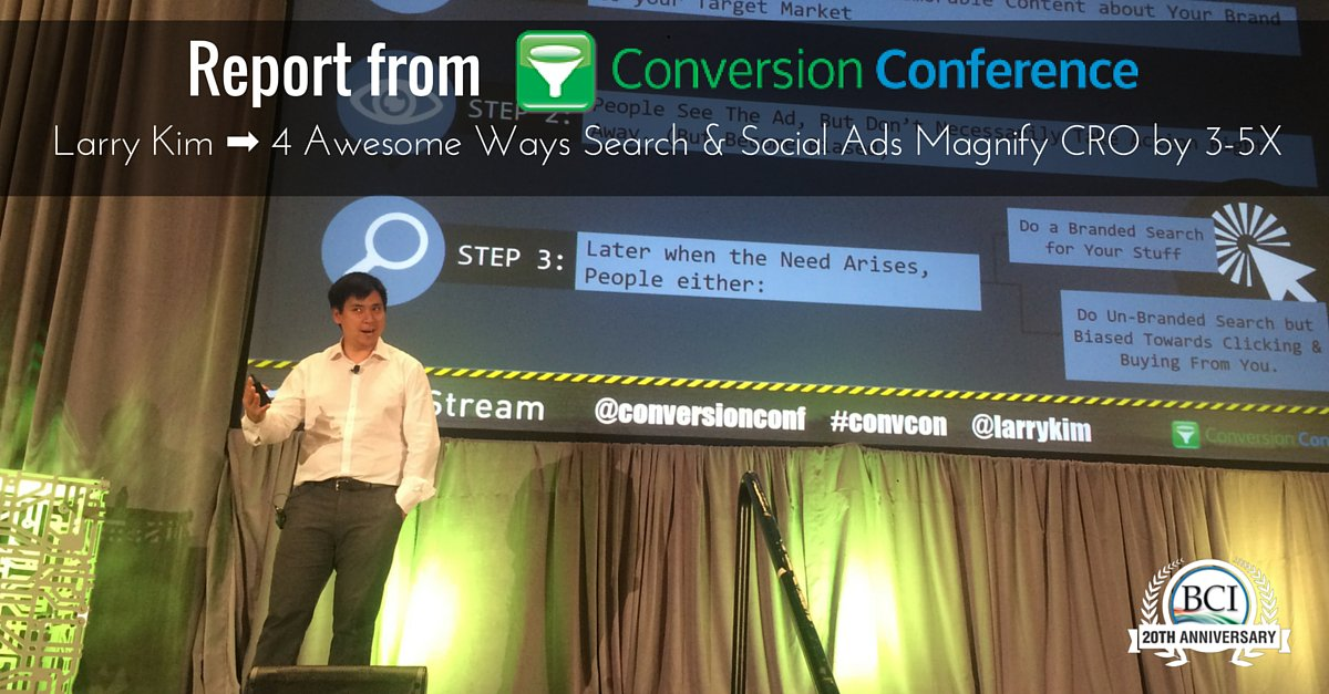 #CONVCON ➡ @larrykim shares 4 AWESOME WAYS Search & Social Ads can Magnify #CRO by 3-5X!  https://t.co/hiwzzpRPQl https://t.co/txaMFkkgAx