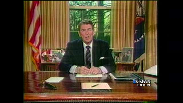 """""""Slipped the surly bonds of Earth to touch the face of God.""""  President Ronald Reagan paraphrasing the poem """"High Flight"""" when addressing the nation 35 years ago today after the #Challenger explosion.  #IAmUp"""