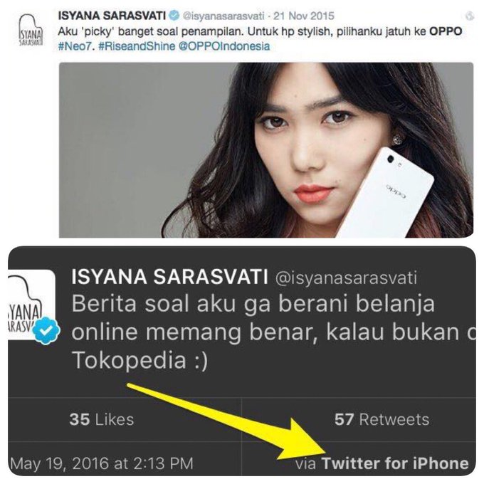 Image result for isyana tweet oppo iphone tokopedia