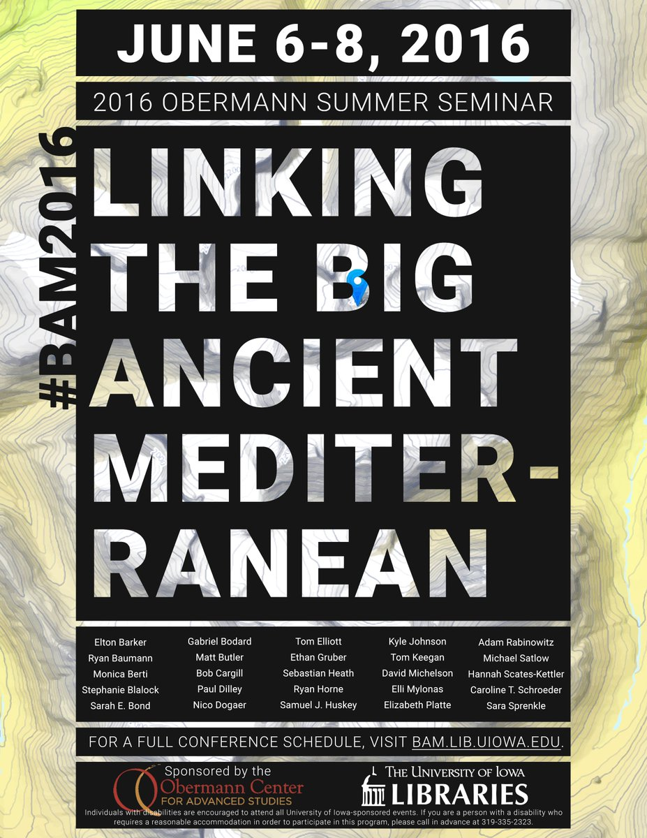 Next wk: Linking the Big Ancient Mediterranean Conf #BAM2016 https://t.co/OVquZ8kinS all are welcome @ObermannCenter https://t.co/XftFeQgWVb