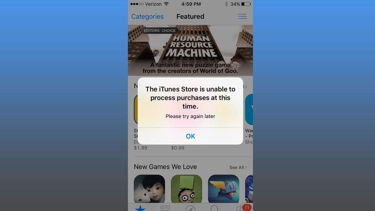 iTunes, App Store, Apple Music, iCloud services down
