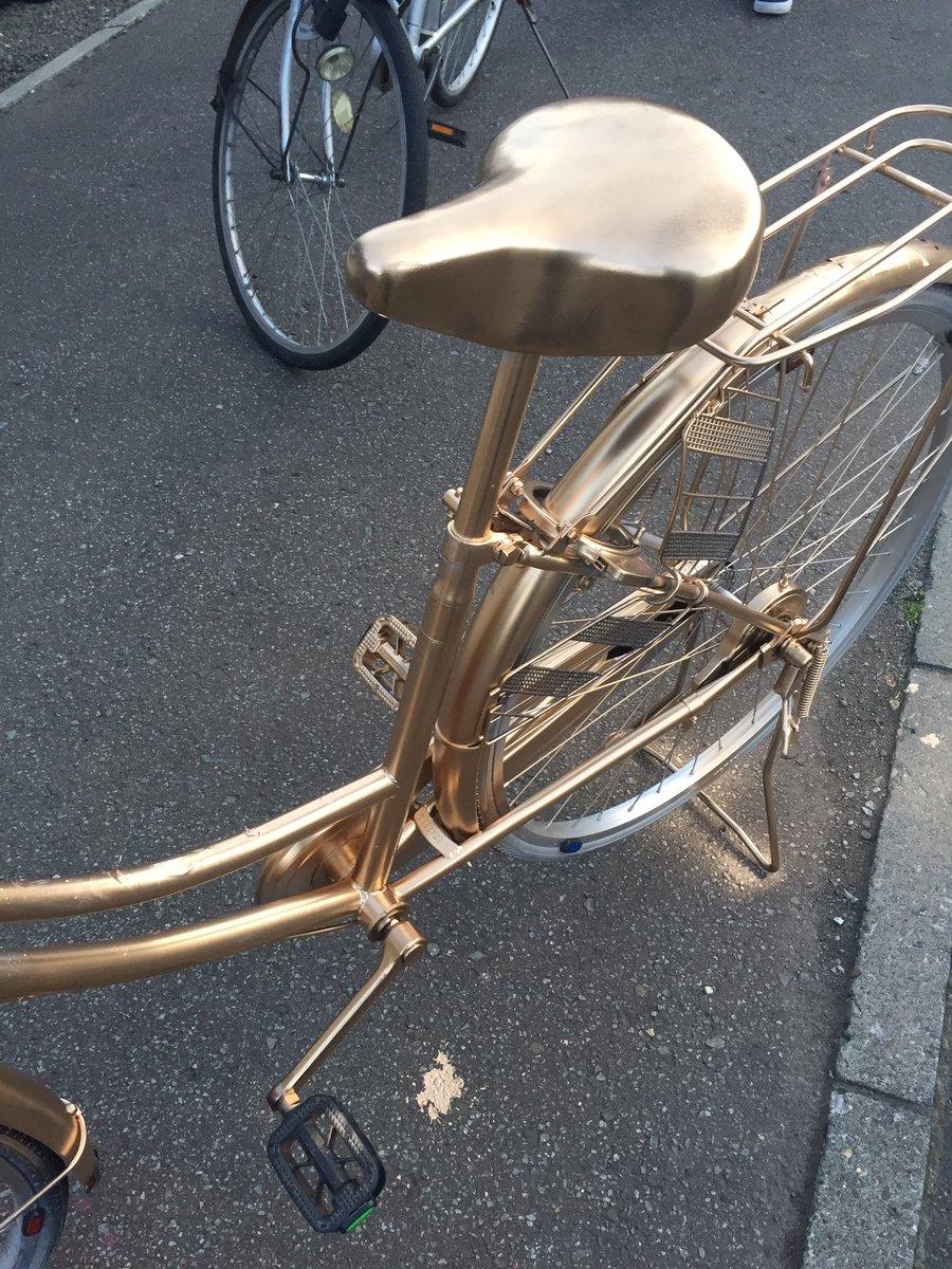 これはプロの犯行・・・自転車が一晩で金色になってて笑う!
