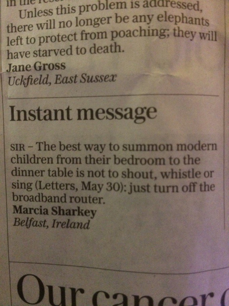 Telegraph reader offers an effective way to summon teenagers for supper. @LettersDesk https://t.co/myLJ1HUF3Z