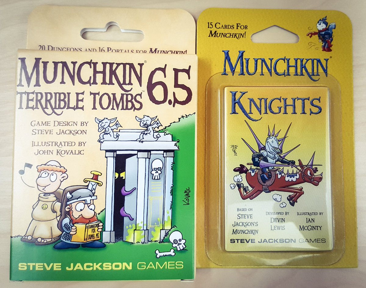 We have two new releases up for grabs! Follow and RT for a chance to win #Munchkin 6.5 and #MunchkinKnights! -HS https://t.co/2vGEwQPWa8