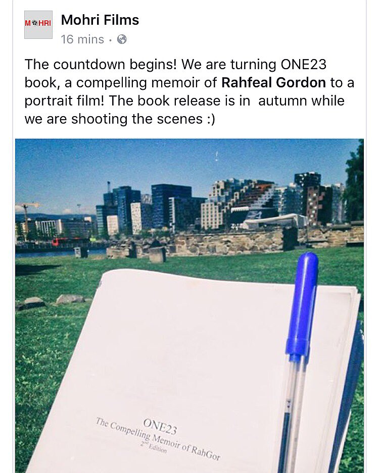 And so it begins... @mohrifilms will be turning my memoir ONE23 into a portrait film.