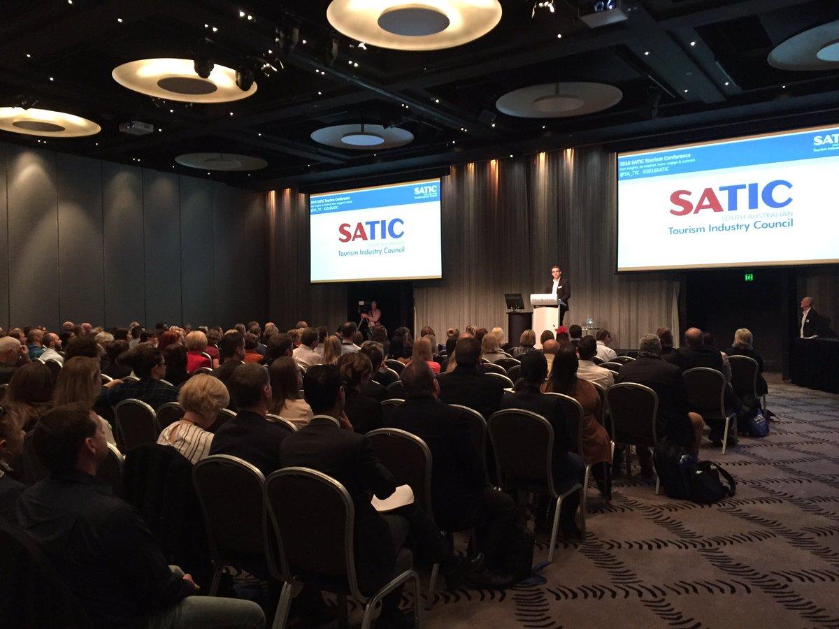 Shaun de Bruyn addresses 280+ delegates at #2016SATIC Tourism Conference at @HiltonAdelaide https://t.co/veFe2j5qeI