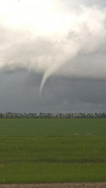 Garrett Darby took this photo of a funnel east of Miami, MB and sent it to cbcmb