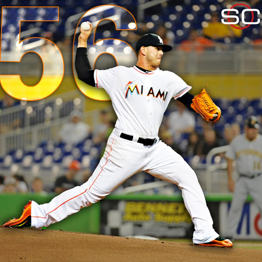 jose fernandez strikes out 6 reaching 56 k in the month of may the