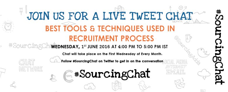 "Join #SourcingChat on ""Best Tools & Techniques used in #Recruitment process"" today @4PM https://t.co/5yEY29XPWe #HR https://t.co/xlTfvJWHNP"