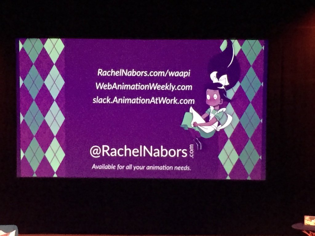 Great talk about the Web Animation API – thx @rachelnabors! #cssconfno https://t.co/OwlFlOfgbJ