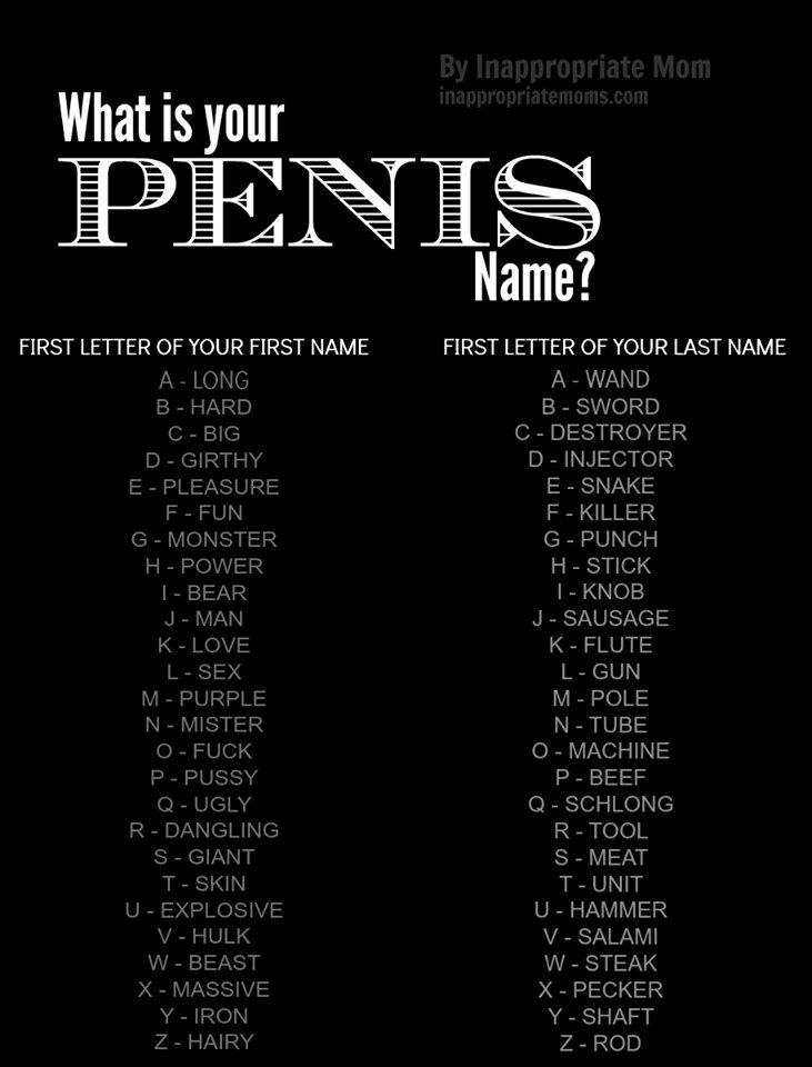 list of penis names