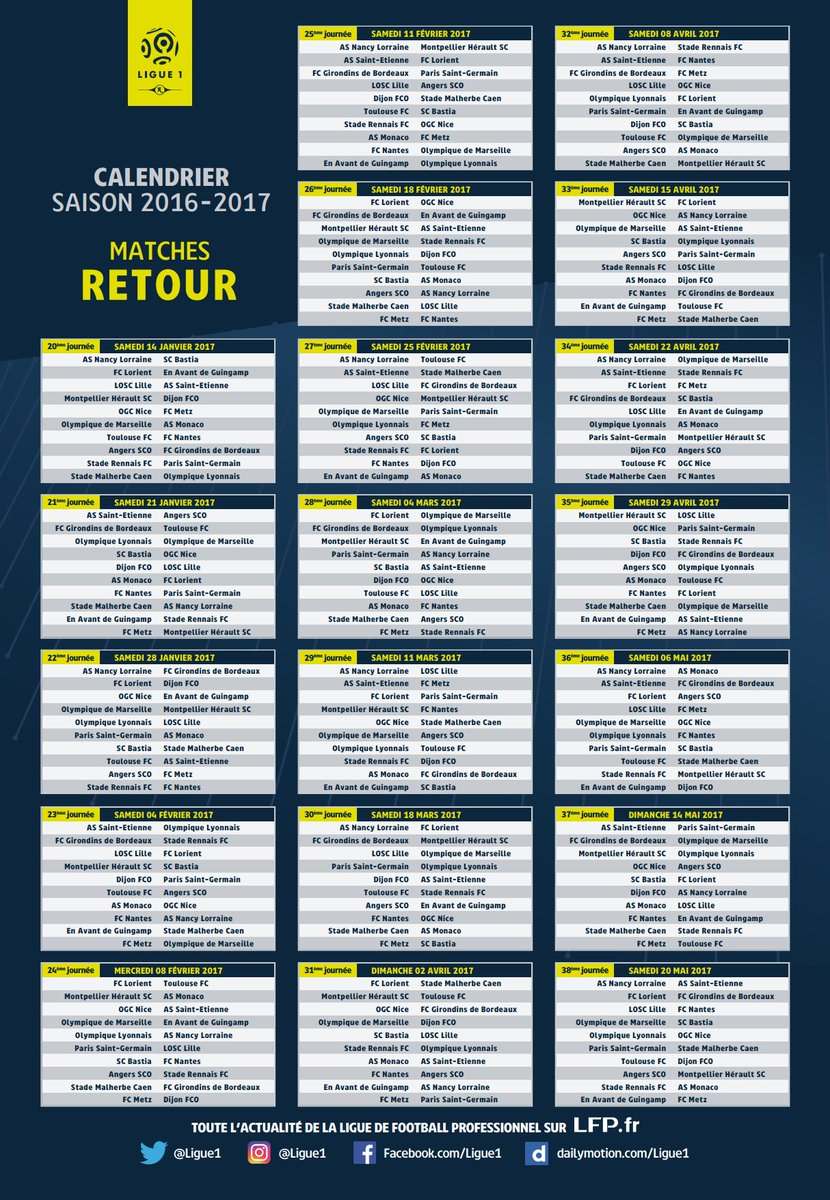 Foot Calendrier Ligue 1.Instant Foot On Twitter Officiel Voici Le Calendrier