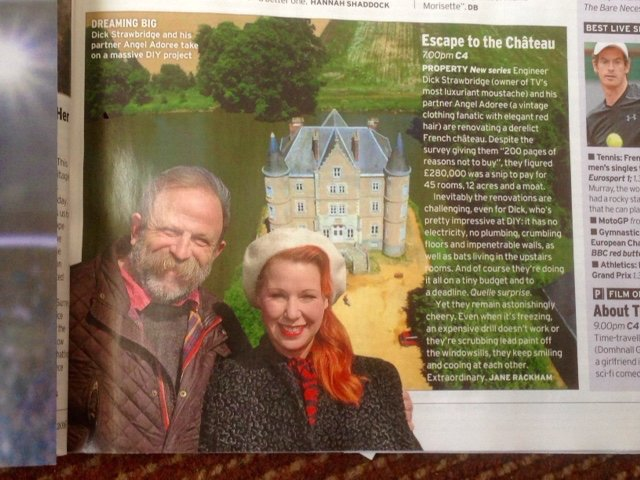 Thank You @RadioTimes @dickstrawbridge and I do 'coo'!  In-between a good argument!  @Channel4 #escapetothechateau https://t.co/jpMd8tSxny
