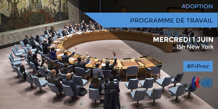 Le Conseil de sécurité adopte programme de travail pour juin, qui s'annonce chargé https://t.co/tPvaOOAacW #FrPrez https://t.co/nm67BEhxgu