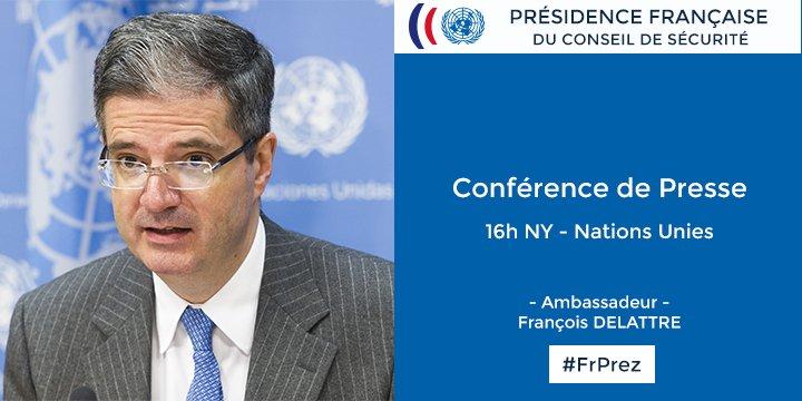 Dans 30 min Amb. Delattre présente #FrPrez aux journalistes @ONU_fr - suivez en direct sur https://t.co/cFG4QxAjjE https://t.co/nxzQBhOwdj