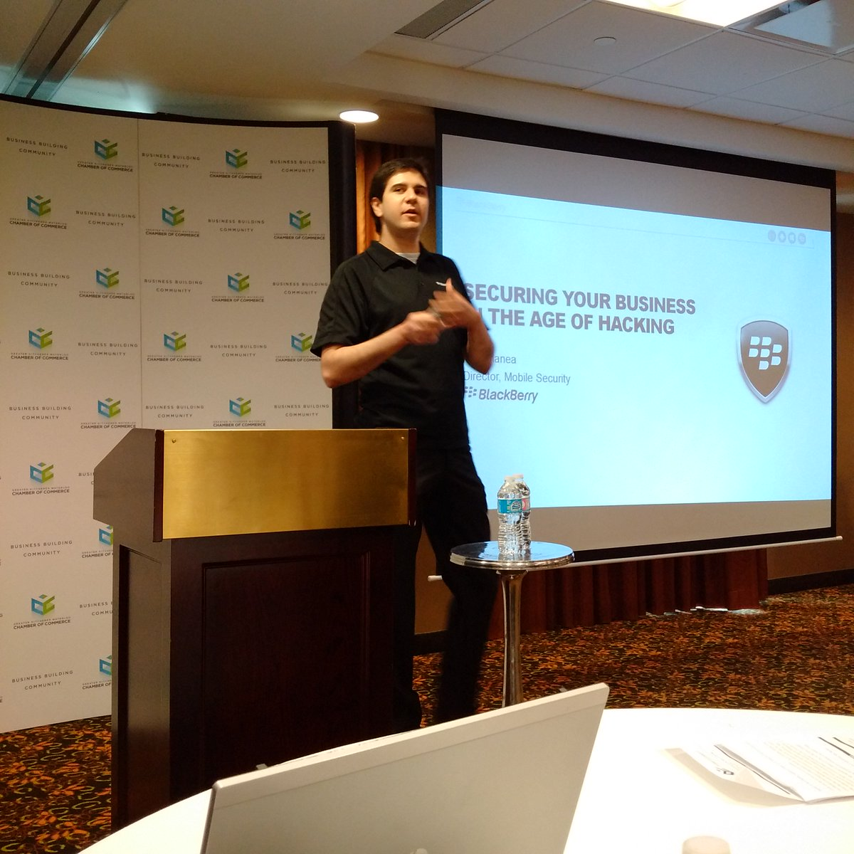 """Alex Manea @BlackBerry on """"Securing Your Business in the Age of Hacking"""" @HomewoodSuites @McNainComm https://t.co/1JA0k63Ix4"""