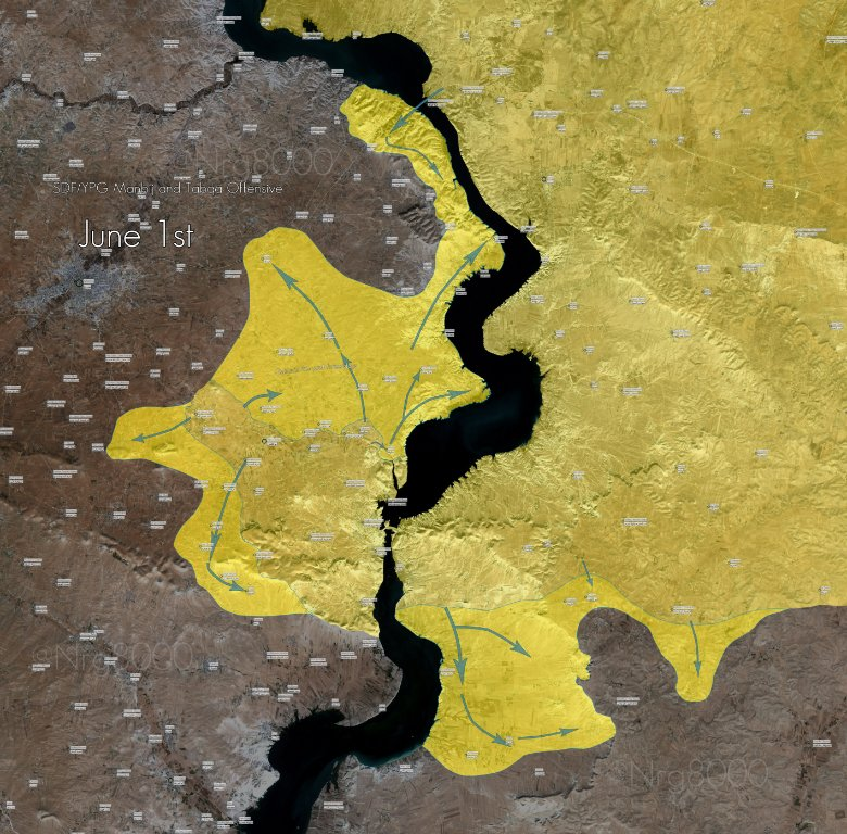 MAP: YPG continues to advance across Euphrates river towards ISIS-controlled town of #Manbij - @Nrg8000