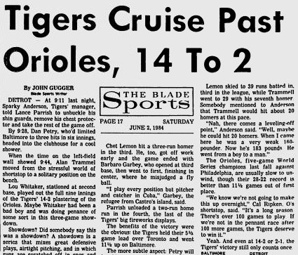 June 1, 1984: #Tigers bomb Baltimore 14-2 at Tiger Stadium. Dan Petry holds the O's to 3 hits over 6 shoutout innings. Alan Trammell, Chet Lemon, & Lance Parrish hit home runs for the Tigers, who improve to 38-9 #Relive84 #35thof84