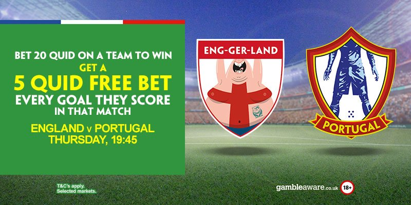 Top offer! bet €20 on england or portugal to win, get €5 free bet