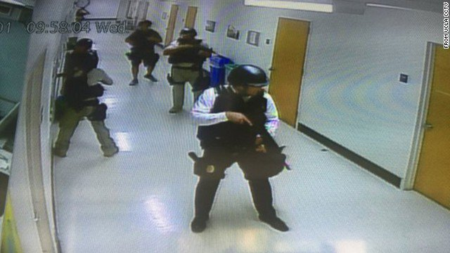 This was the scene on campus as police searched hallways at
