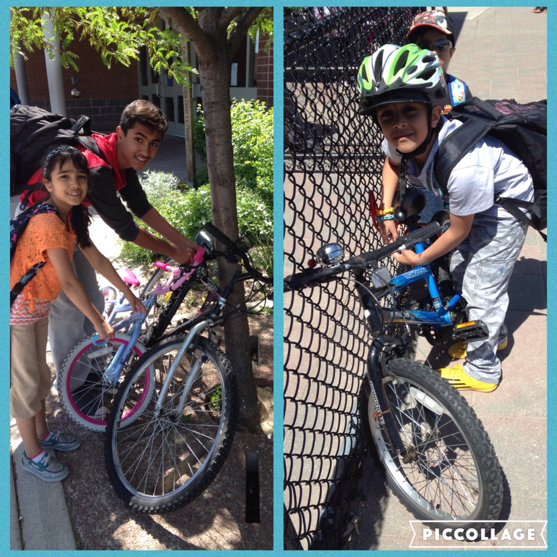 Racks were so full today we had to lock up to trees & the fence! #EarlyBirdGetsASpot #BikeToSchool @peelschools https://t.co/1Ei5Pwx3zE